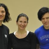Richard Z. «Fuchs», Kruspe Christoph «Doom» Schneider,Christina Tomal after yoga class in Minsk